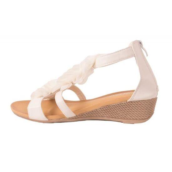 618d651d6733 Sandales femme compensées petit talon à fleurs à fermeture zip cheville-36  Blanc Blanc - Achat   Vente sandale - nu-pieds - Cdiscount