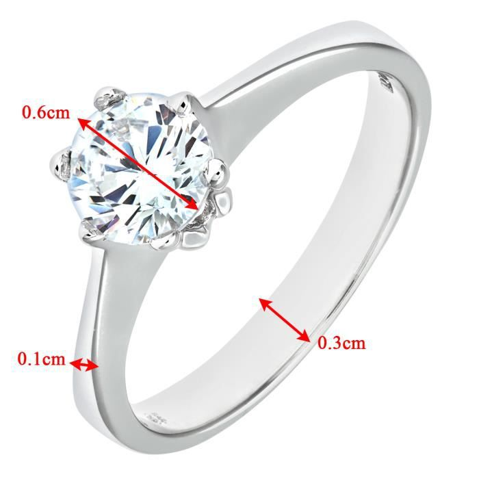 Revoni Bague Solitaire Oxyde de Zirconium Or Blanc 375° Femme - CD-MR4130W-L