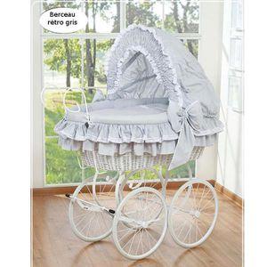 BERCEAU ET SUPPORT Berceau bébé rétro osier complet blanc et gris