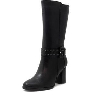 BOTTE Botte femme, cuir noir, talon 8cm, MDF 3014