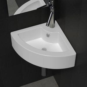 LAVABO - VASQUE vidaXL Vasque à poser/ Lave Main Angle Blanc en cé