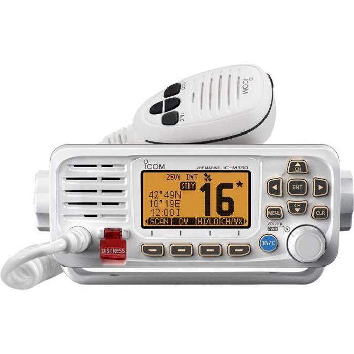 ICOM VHF Marine Fixe Classe D ASN - Récepteur GPS/GLONASS intégré IPX7 - IC-M330GE - Blanc