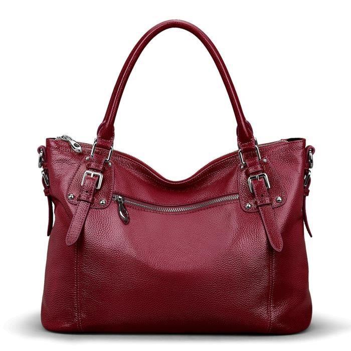 Fourre-tout en cuir véritable Vintage Grand sac dépaule version améliorée G6KOT