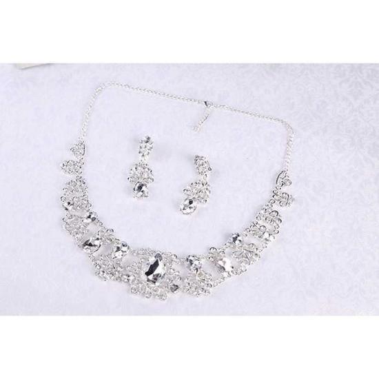 jeune mariée Mariage Ensemble de bijoux - collier boucle doreille -166