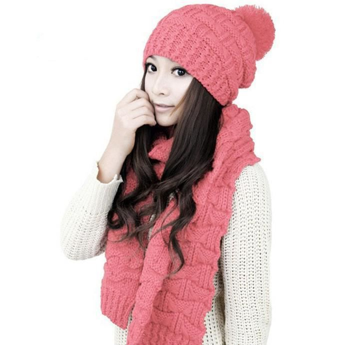 05de05a07d2 1set femmes chaudes laine tricot écharpe capuche châle casquettes ...