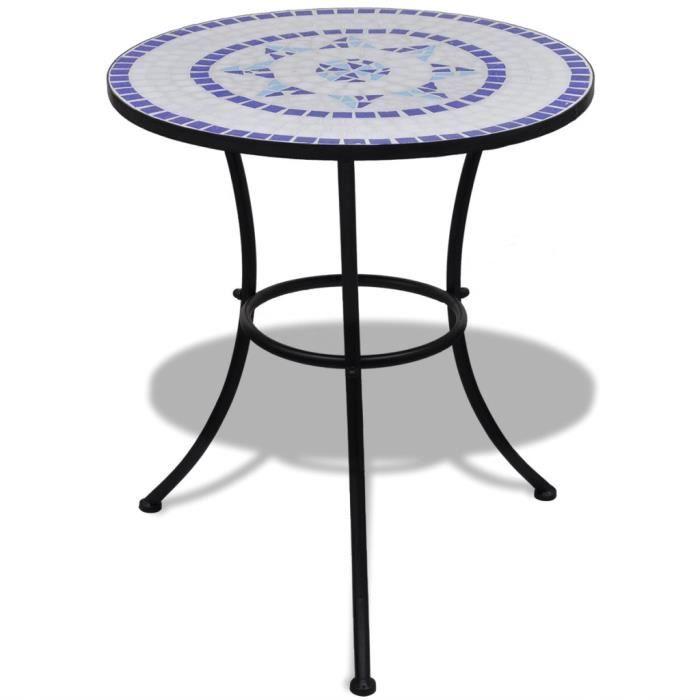Ensembles de meubles Set de bistro mosaique table 60 cm et 2 chaises  bleu/blanc