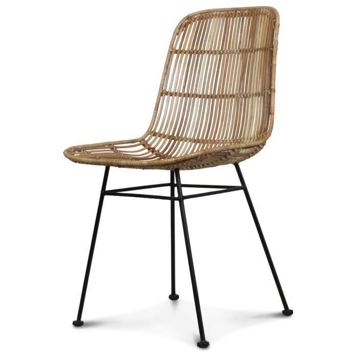 chaise rotin naturel pieds m tal talia achat vente chaise blanc soldes d s le 9 janvier. Black Bedroom Furniture Sets. Home Design Ideas