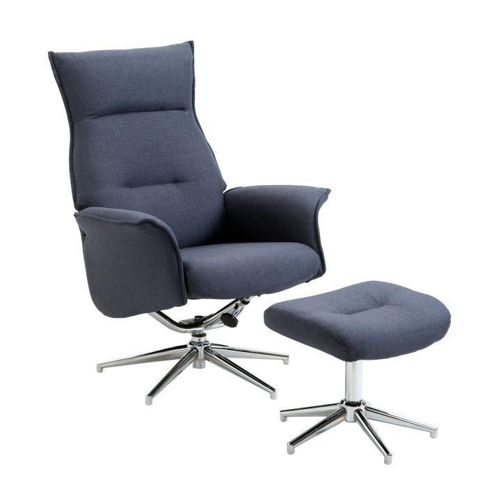 942e786f098ffc Fauteuil relax inclinable pivotant avec repose-pied design contemporain  tissu bleu chiné acier chromé 08 75x75x117cm Bleu