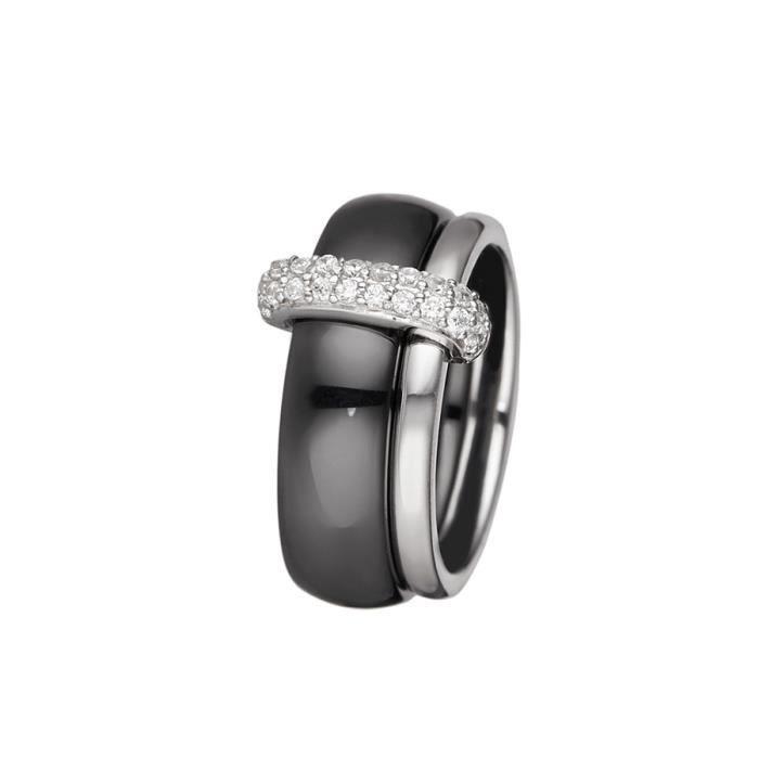 Mes-bijoux.fr - Bague Femme en Céramique Noire et Argent 925-1000 -  7BJ6269BAgv 60 8064f01908de
