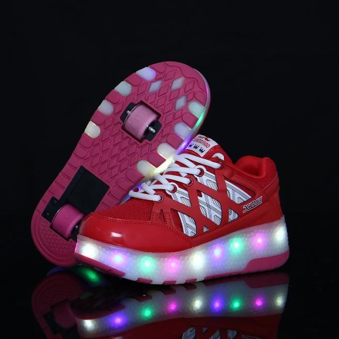Enfant chaussures à roulettes double roue patins à roulettes male femelle enfantmode LED enfant chaussure Skateshoes - Rouge