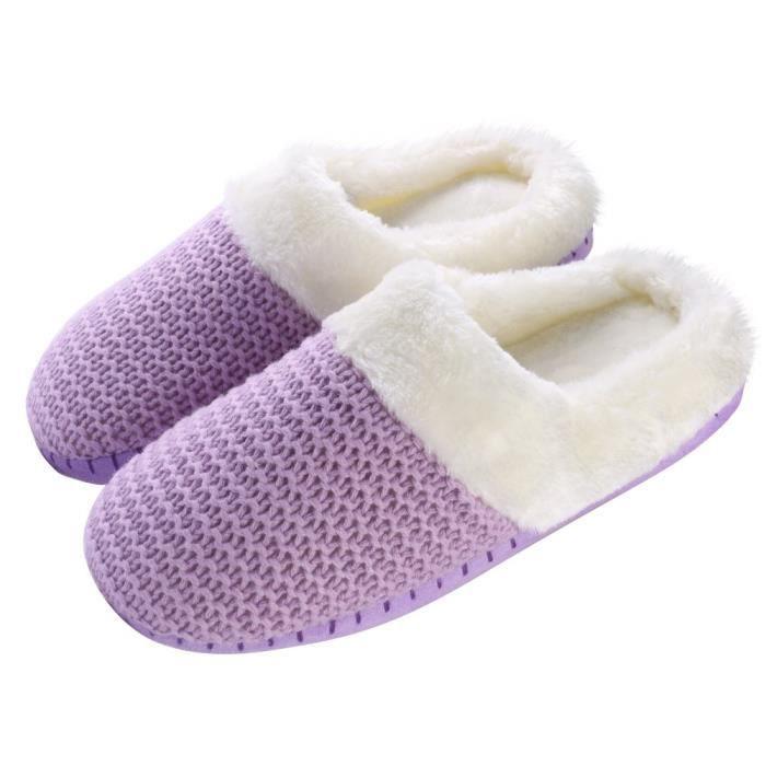 Câble Cozy Knit Chambre intérieure Maison Accueil Comfy Slip Pantoufles Chaussures TV0T7 Taille-38