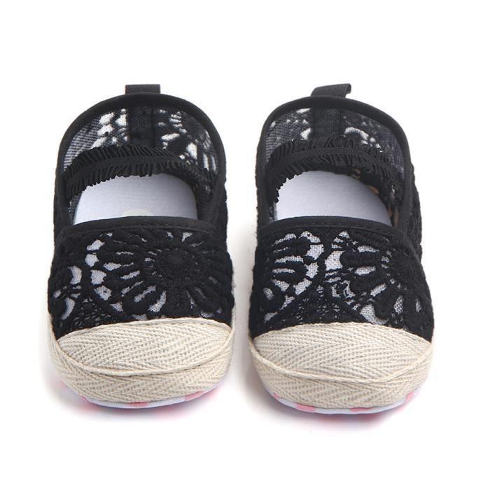 BOTTE Doux Nourrisson Nouveau-Né Bébé Dentelle Creux Garçon Fille Enfant Doux Semelle Chaussures Sneaker@NoirHM