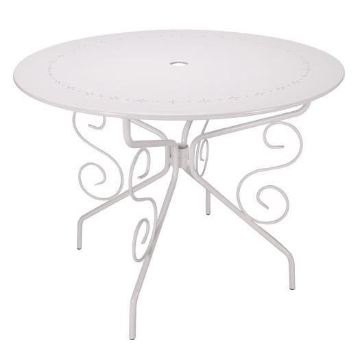 TABLE DE JARDIN RONDE D95CM ROMANTIQUE BLANCHE 4 PLACES - Achat ...