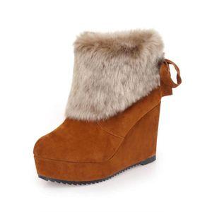 Bottes en peluche solides d'hiver pour femmes Bottes plates en talons hauts Martin BKNoir XKO882 oq978wldt8