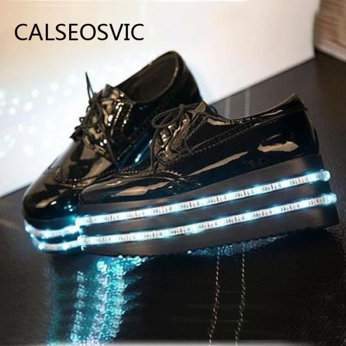 Femme Chaussures LED USB Charge 8 multicolors LED Loisir Baskets