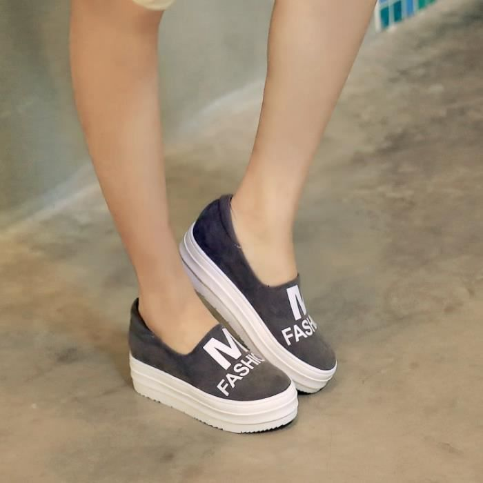 Gris Printemps Automne Chaussures de mode pour femmes Chaussures de toile Flat Platform Lazy Shoes