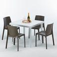 Blanc Modèle rome Rotin Resine Table Colorées M 4 Chaises Poly Carrée 90x90 Marron Et PukXZiO