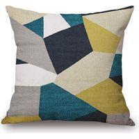 HT PJ Decorative linge de coton mélangé canapé housse de coussin bleu et jaune Simple Figures géométriques Motif 45cmx45cm