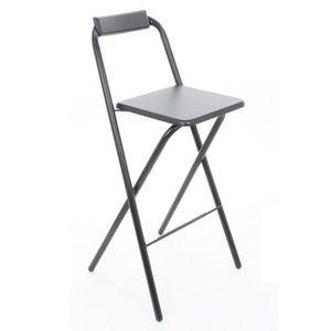 FAUTEUIL JARDIN  Chaise de bar pliante Louna - Noir