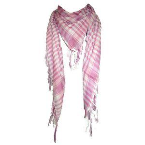 ECHARPE - FOULARD Keffieh foulard cheche étole kefier blanc et rose 1d78b3ba825