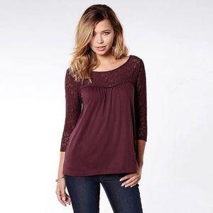 T-SHIRT Tee-shirt manches 3/4 dentelle et guipure femme
