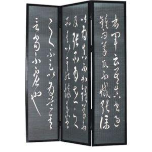 PARAVENT Paravent bois noir avec motifs lettres chinoises d