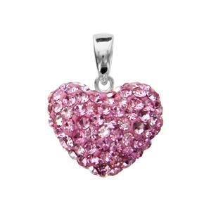 Pendentif argent coeur bombe strass roses