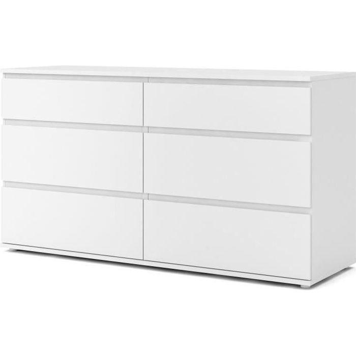 Commode 6 tiroirs - Décor blanc - L 153,4 x P 50 x H 83,70...