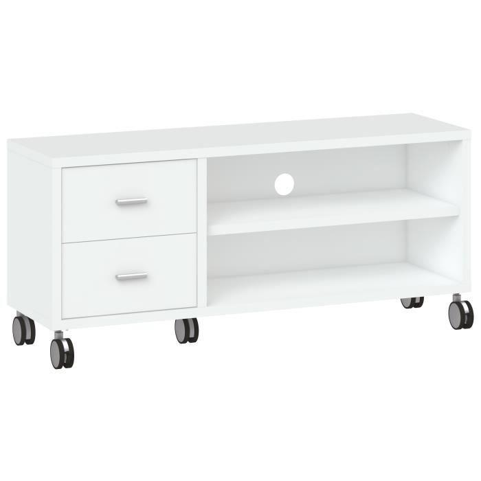Panneaux de particules blanc - L 120 x P 35 x H 53 cm - 2 niches, 2 tiroirs et 1 étagère - Sur roulettesMEUBLE TV - MEUBLE HI-FI