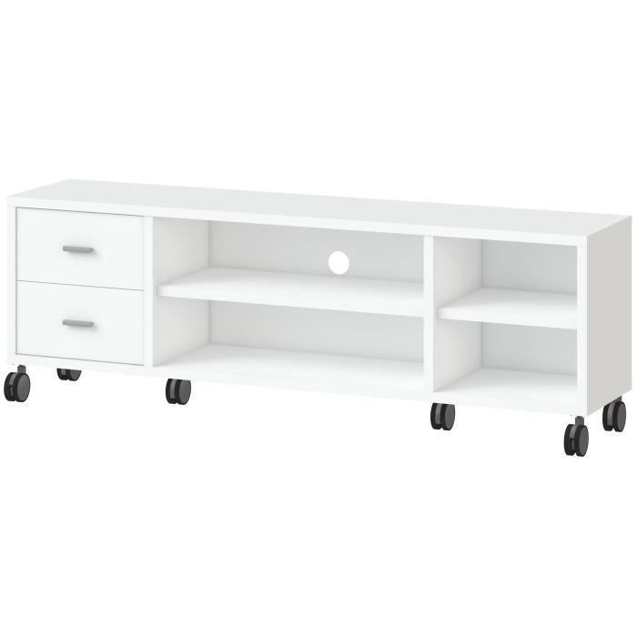 Panneaux de particules blanc - L 160 x P 35 x H 53 cm - 4 niches, 2 tiroirs et 2 étagères - Sur roulettesMEUBLE TV - MEUBLE HI-FI