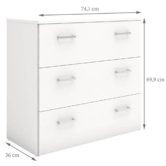 En panneaux de particules blanc - L 74,1 x P 35,7 x H 70 cm - 3 tiroirs - Fabrication européenneCOMMODE DE CHAMBRE