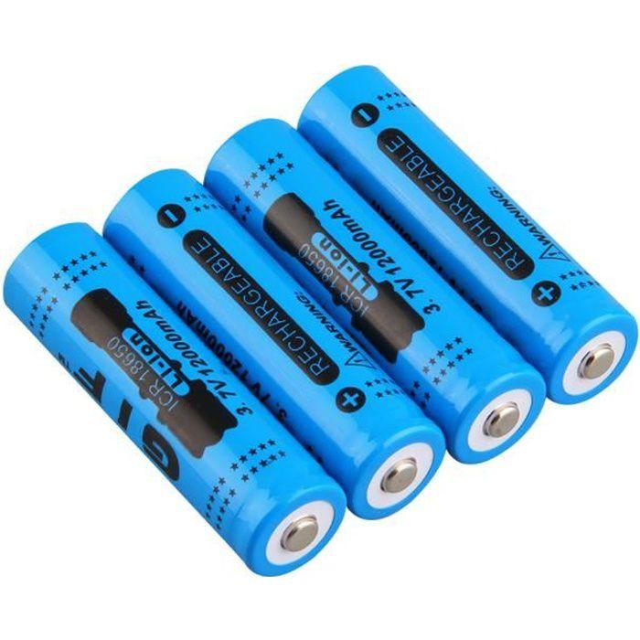 4pcs Bleu 18650 3 7v 12000mah Batterie Rechargeable Li Ion Pour