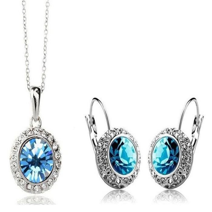 Womens Shining Diva Crystal Combo Jewellery Of Pendant Necklace Set With Earrings For AndH4UC5