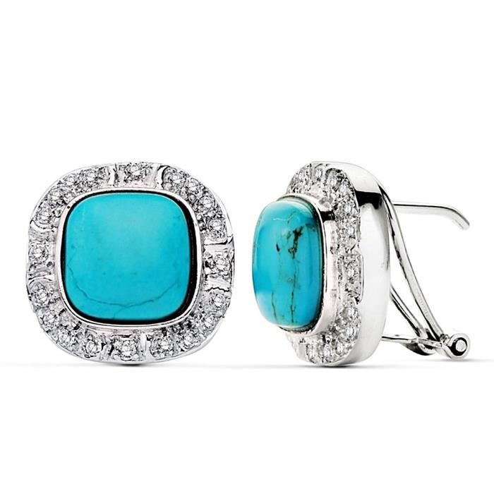 Boucle doreille Or blanc 18 carats zircons centre turquoise 10mm. AB2446 AB2446