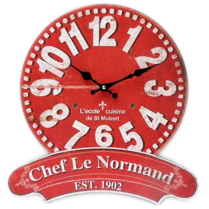 pendule horloge murale chef le normand École de cuisine en bois
