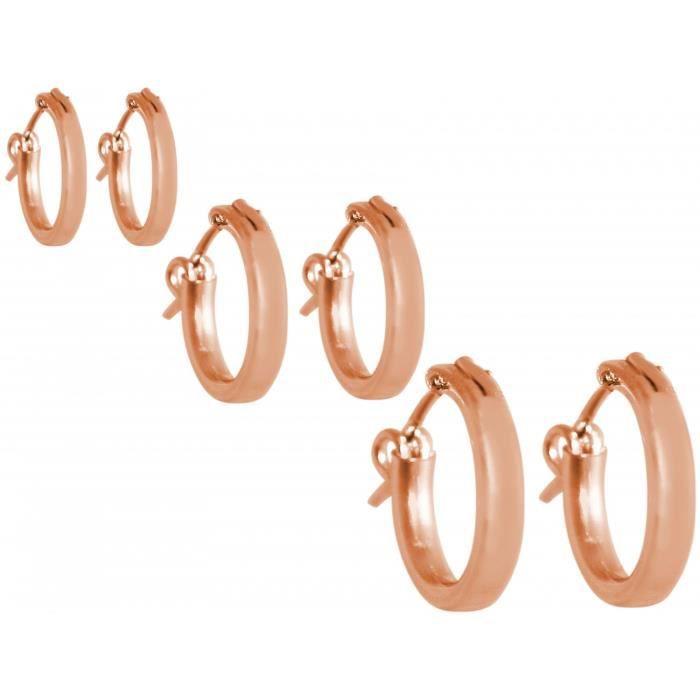 argent Gemshine 925 plaqué or rose boucles doreilles boucles doreilles design classique dans les tailles 12 mm - 40 mm. Fait à