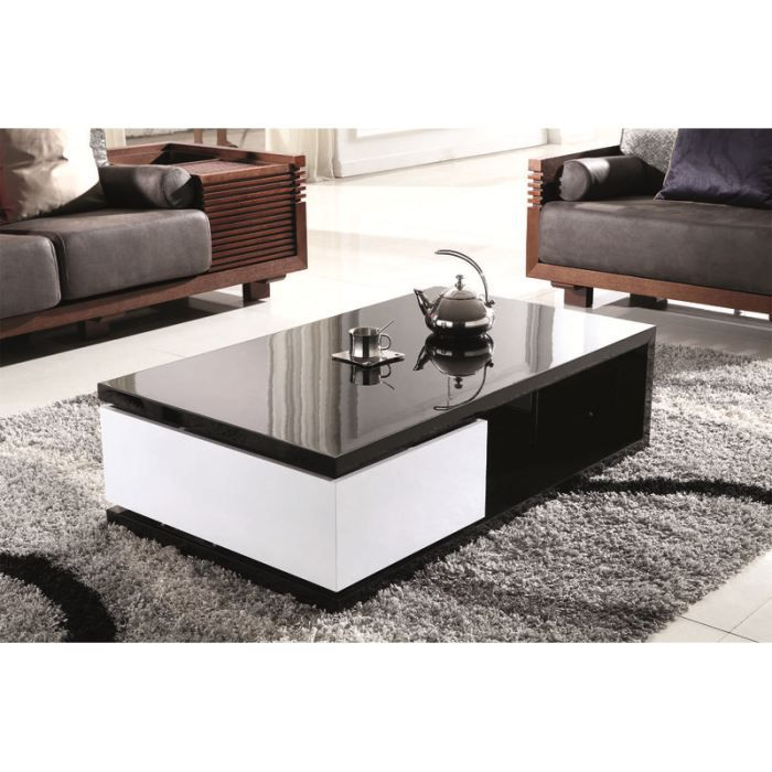 table basse design laqu e noir et blanc homy achat. Black Bedroom Furniture Sets. Home Design Ideas
