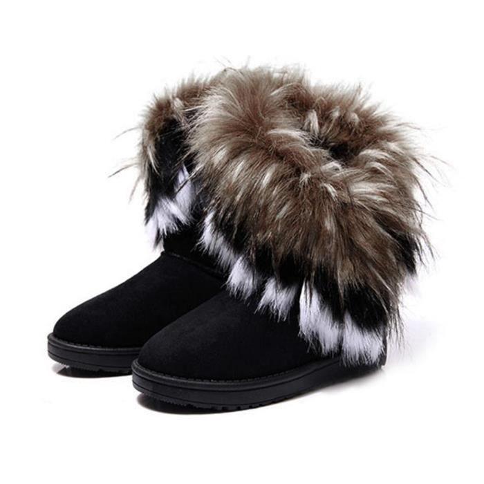 Coton De Cuir Bottine Fausse Fourrure Femme Synthtique Neige Noir Boots En nX8wOk0P