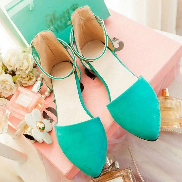 Femmes d'été Suede Mode boucle cheville sandales Chaussures plates