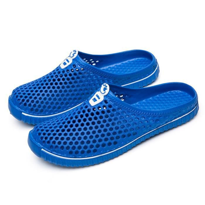 Hommes Chaussures Unisexe Évider Casual Couple Plage Sandale Tongs Chaussures LMH80305555BU Bleu M5F94a