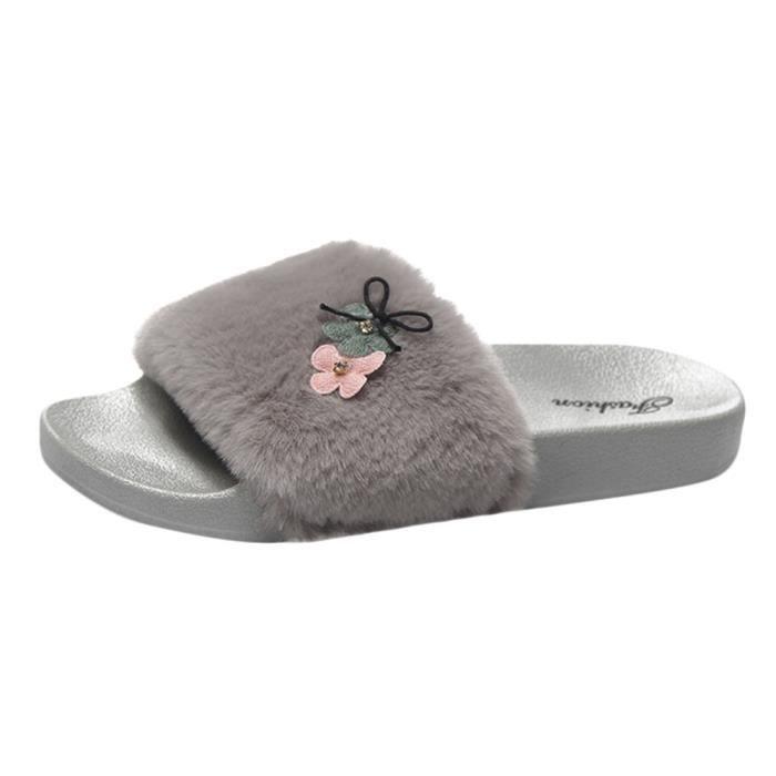 Plat Sandales Flop Mesdames En On Sliders Chaussons Fausse Slip Gris Hx1505 Fourrure Fluffy Flip Femmes 87q7nP