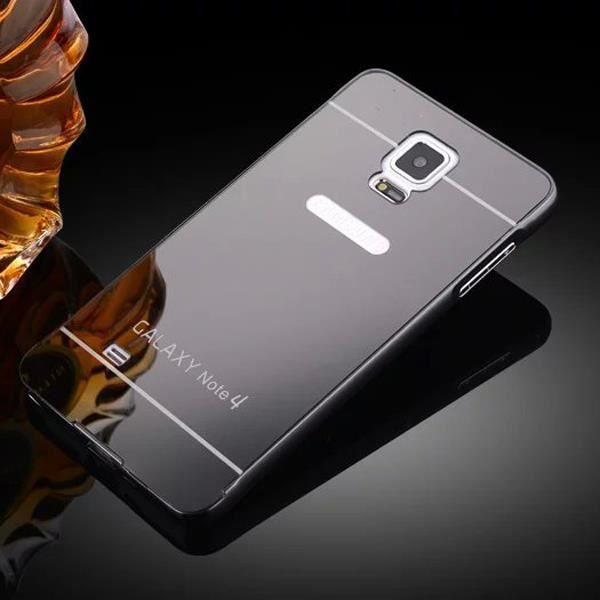 08e84c2e2d51b Coque du boîtier Bumper pour Samsung Galaxy Note 4 Étui Case Miroir de luxe  PC +métal double Matériel Protictive Housse Gris