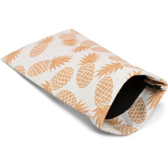 e94ad4cdf4 styleBREAKER Étui pour lunettes de soleil avec imprimé ananas et chiffon de  nettoyage, étui avec fermeture à cliquet 09020076