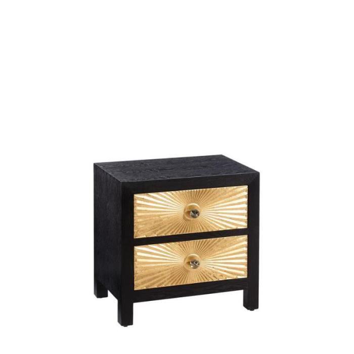 L 2 40 H Tiroirs Or Cm X 60 Monoi Table Noir Chevet De GpSUVMqz