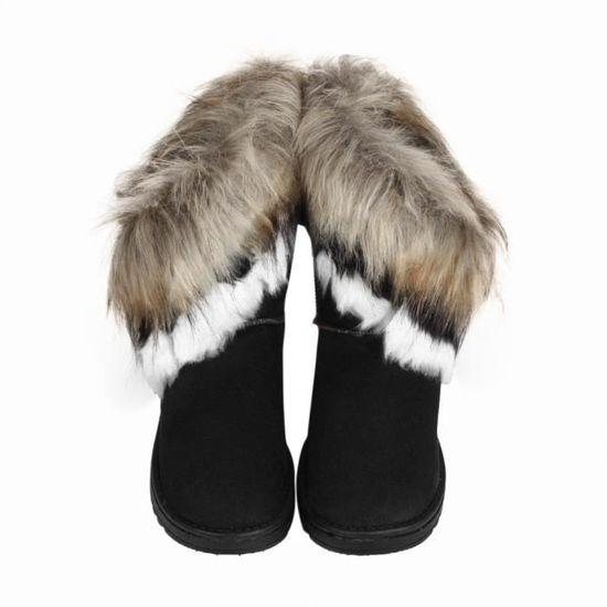 Mode Femmes Bottes Cheville Plat Fourrure Chaussures@Noir Doublé Hiver Chaud Neige Chaussures@Noir Fourrure Noir Noir - Achat / Vente botte ee5640