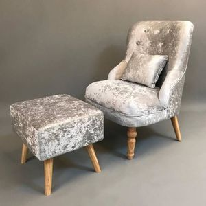 FAUTEUIL OUTAD Fauteuil Relax tissu avec repos-pied-Argent