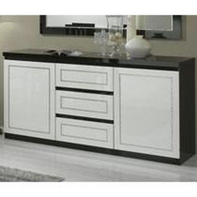 Buffet bahut noir et blanc laqué design DAMIA 3 portes 3 tiroirs ...