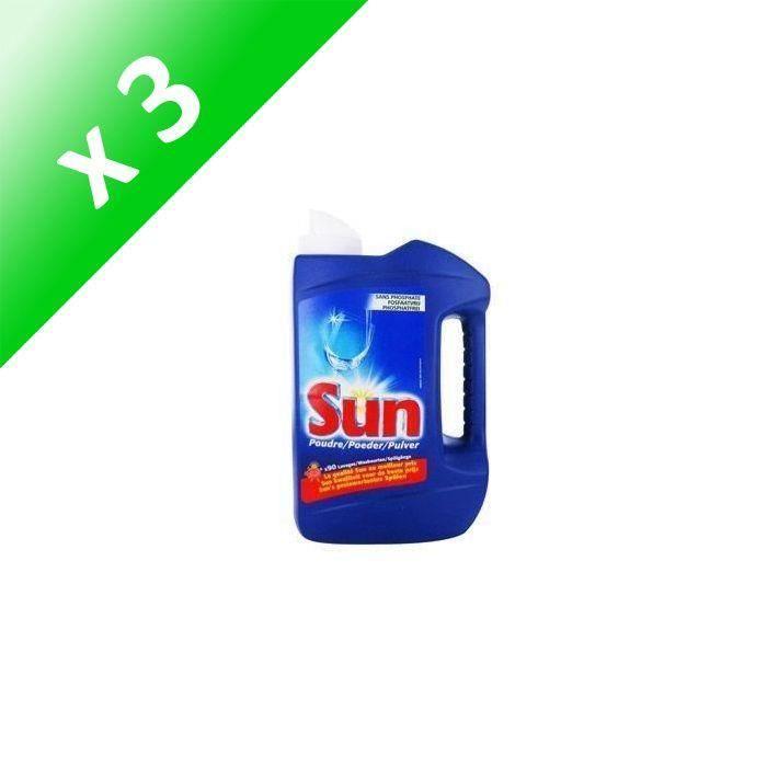 SUN Poudre de lavage Lave vaisselle Classic - 1,235 kg (Lot de 3)