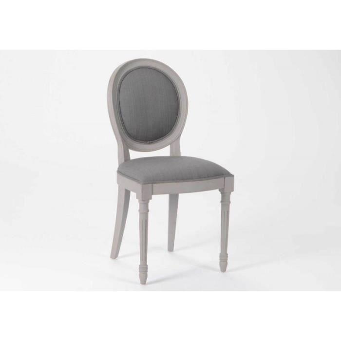 Chaise Medaillon Grise Et Blanche Design
