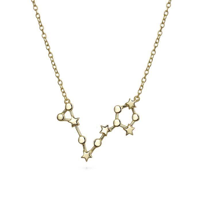 Bijoux fantaisie la constellation du Zodiaque Poisson plaqué or Collier Pendentif 16in